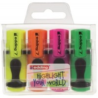 4 Marcadores fluorescente Edding 7 Mini 4 colores