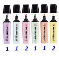 8 Stabilo Boss Pastel (2 amarillo,2 rosa,1 lila,1 turquesa,1 menta y 1 melocotón)